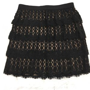NWT Ann Taylor Layered Fringe Lace Skirt Black Tan